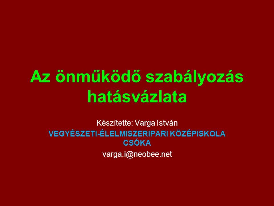 Az önműködő szabályozás hatásvázlata Készítette: Varga István VEGYÉSZETI-ÉLELMISZERIPARI KÖZÉPISKOLA CSÓKA varga.i@neobee.net