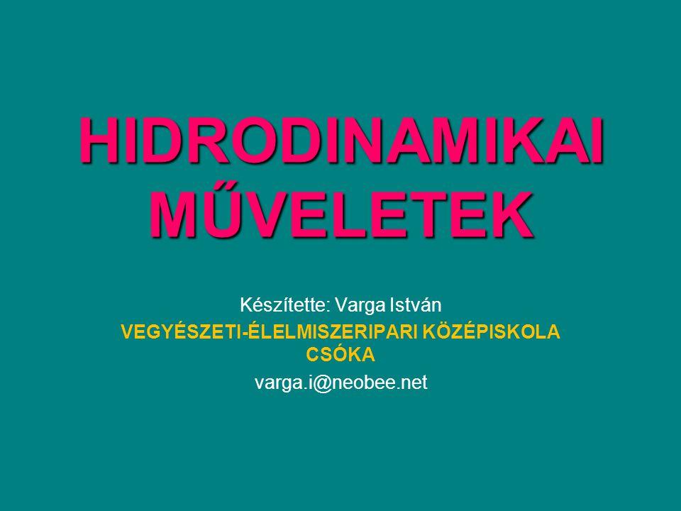 HIDRODINAMIKAI MŰVELETEK Készítette: Varga István VEGYÉSZETI-ÉLELMISZERIPARI KÖZÉPISKOLA CSÓKA varga.i@neobee.net