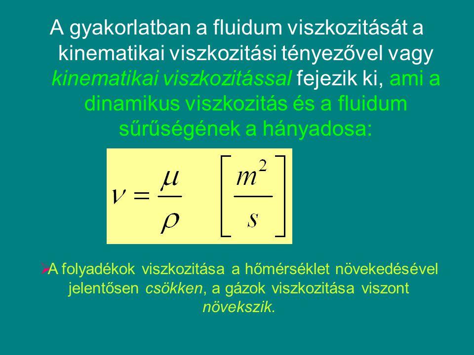 A gyakorlatban a fluidum viszkozitását a kinematikai viszkozitási tényezővel vagy kinematikai viszkozitással fejezik ki, ami a dinamikus viszkozitás é