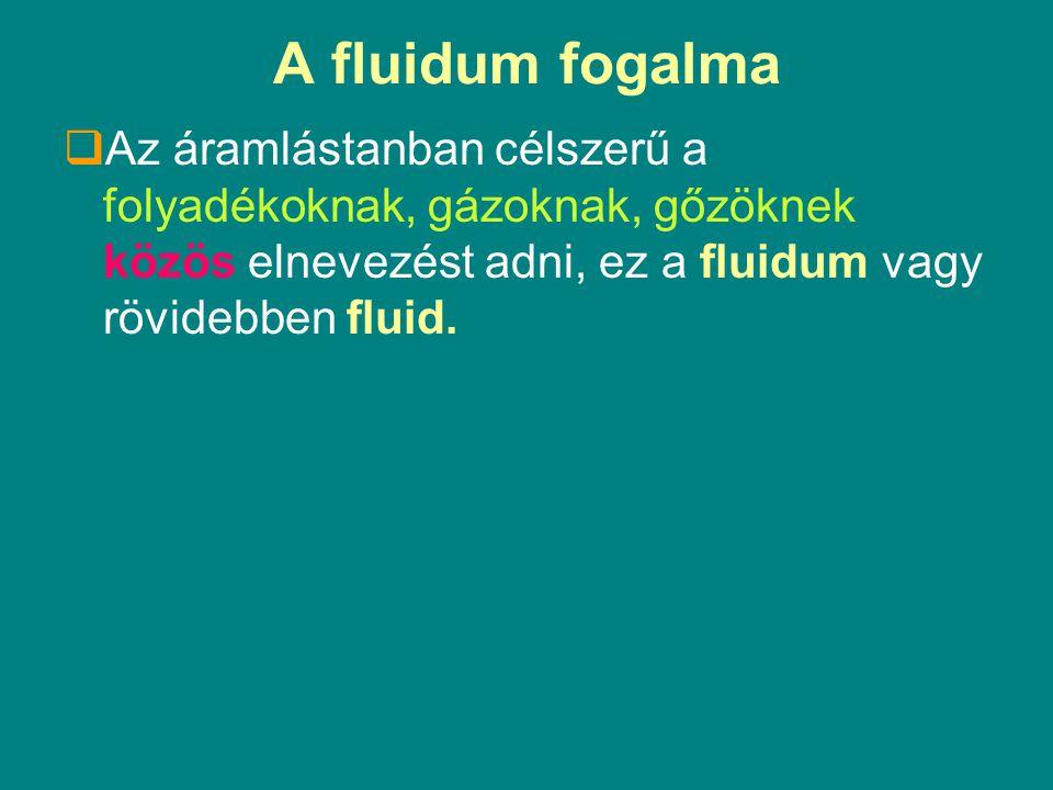 Az ideális fluidum Ideálisnak tekinthetünk egy fluidumot, ha gyakorlatilag:  Összenyomhatatlan,  nem viszkózus, azaz nincs belső súrlódása és  a sűrűsége nem változik a hőmérséklet változásával.