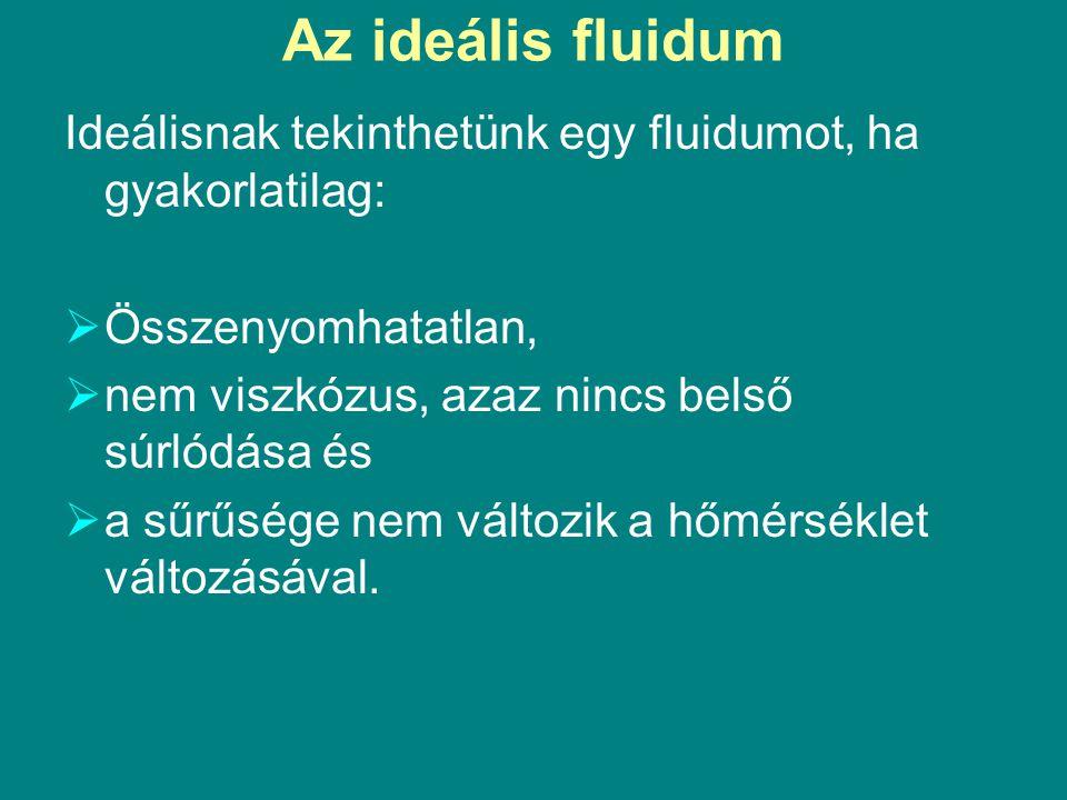 Az ideális fluidum Ideálisnak tekinthetünk egy fluidumot, ha gyakorlatilag:  Összenyomhatatlan,  nem viszkózus, azaz nincs belső súrlódása és  a sű