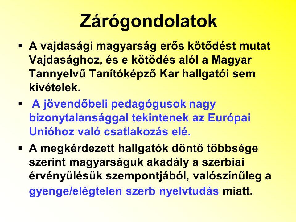  A vajdasági magyarság erős kötődést mutat Vajdasághoz, és e kötödés alól a Magyar Tannyelvű Tanítóképző Kar hallgatói sem kivételek.