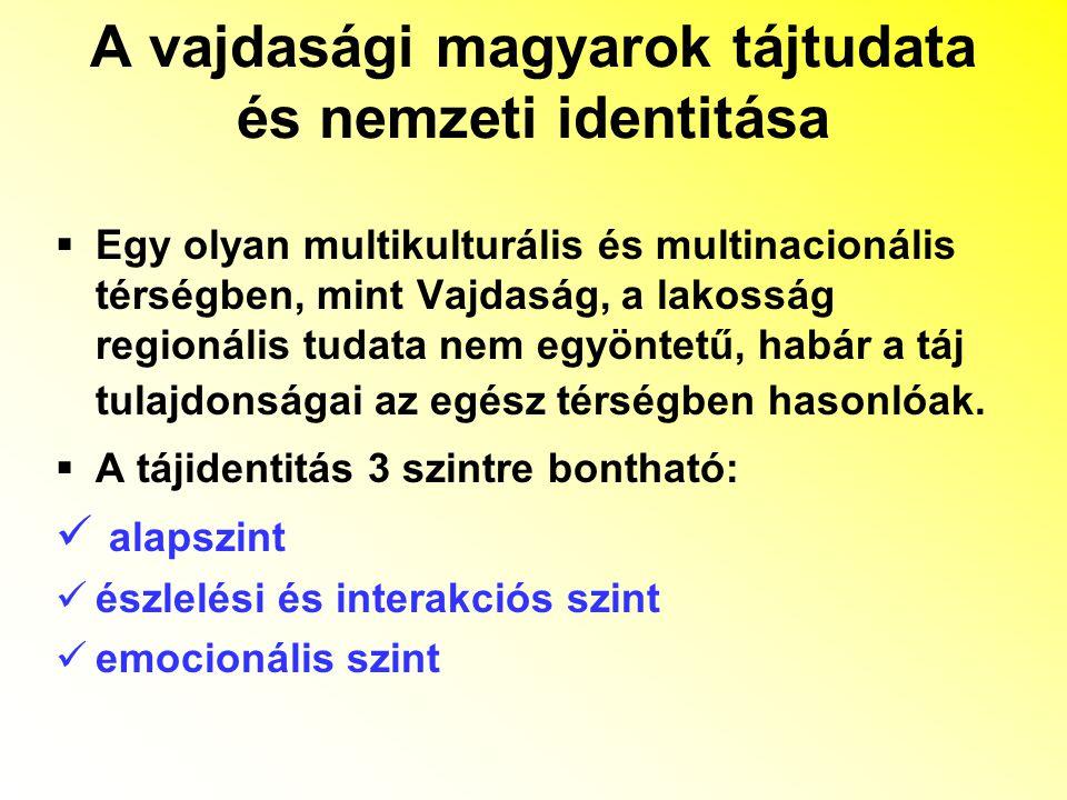 A vajdasági magyarok tájtudata és nemzeti identitása  Egy olyan multikulturális és multinacionális térségben, mint Vajdaság, a lakosság regionális tudata nem egyöntetű, habár a táj tulajdonságai az egész térségben hasonlóak.