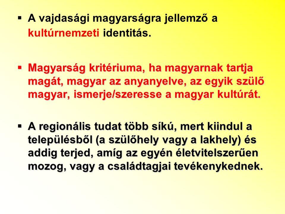  A vajdasági magyarságra jellemző a kultúrnemzeti identitás.