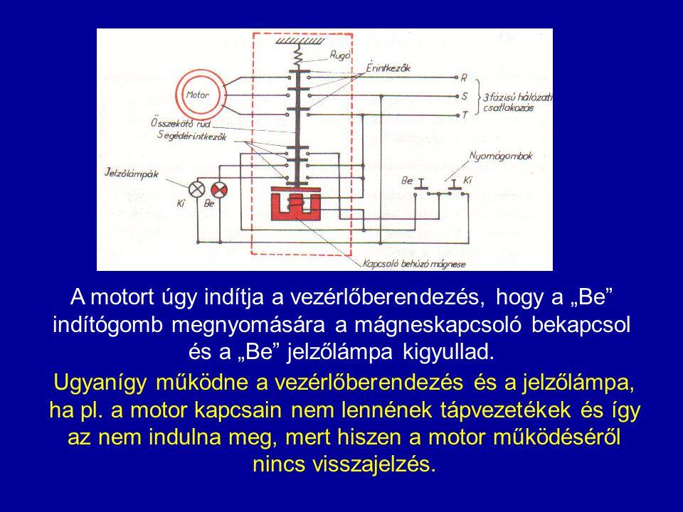 """A motort úgy indítja a vezérlőberendezés, hogy a """"Be"""" indítógomb megnyomására a mágneskapcsoló bekapcsol és a """"Be"""" jelzőlámpa kigyullad. Ugyanígy műkö"""
