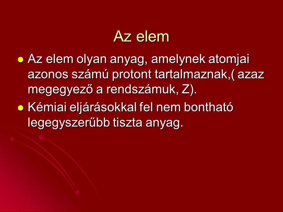 Az elem Az elem olyan anyag, amelynek atomjai azonos számú protont tartalmaznak,( azaz megegyező a rendszámuk, Z). Az elem olyan anyag, amelynek atomj