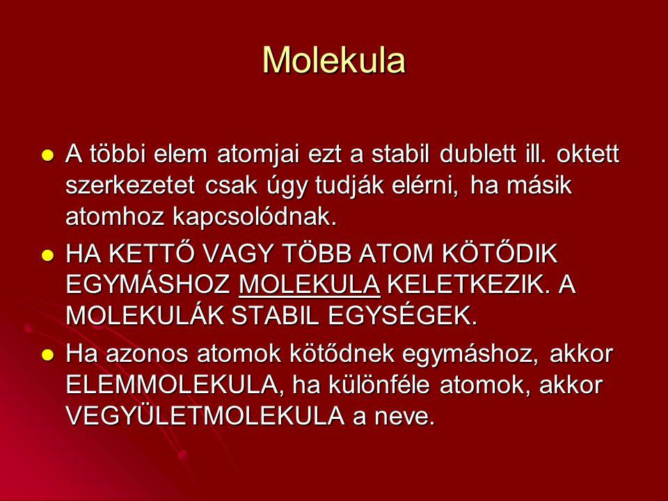Molekula A többi elem atomjai ezt a stabil dublett ill.