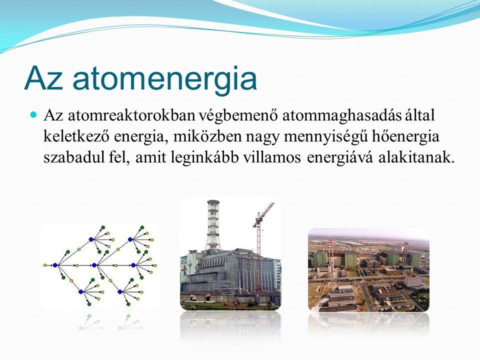 Az atomenergia Az atomreaktorokban végbemenő atommaghasadás által keletkező energia, miközben nagy mennyiségű hőenergia szabadul fel, amit leginkább v