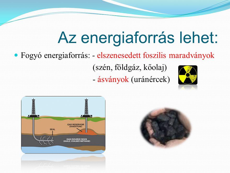 Az energiaforrás lehet: Fogyó energiaforrás: - elszenesedett foszilis maradványok (szén, földgáz, kőolaj) - ásványok (uránércek)