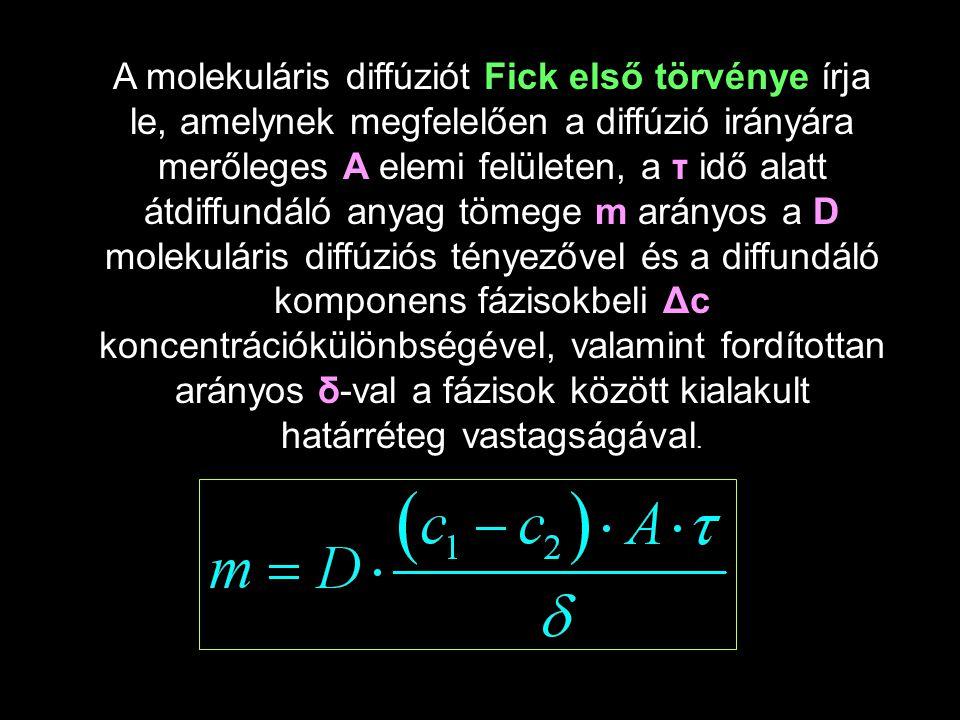 A molekuláris diffúziót Fick első törvénye írja le, amelynek megfelelően a diffúzió irányára merőleges A elemi felületen, a τ idő alatt átdiffundáló a