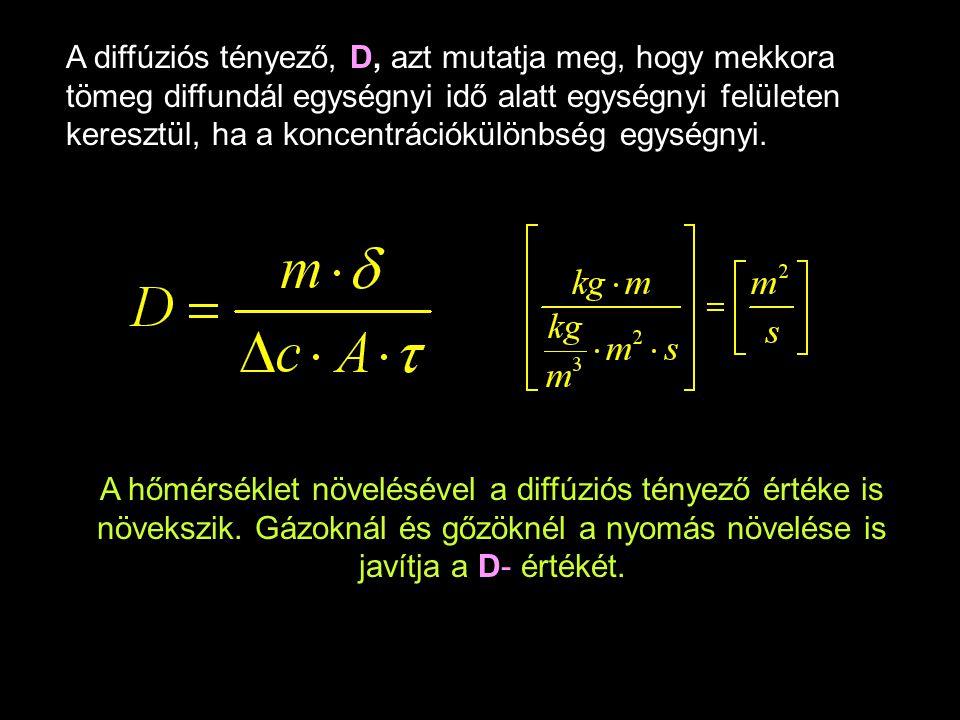 A diffúziós tényező, D, azt mutatja meg, hogy mekkora tömeg diffundál egységnyi idő alatt egységnyi felületen keresztül, ha a koncentrációkülönbség eg