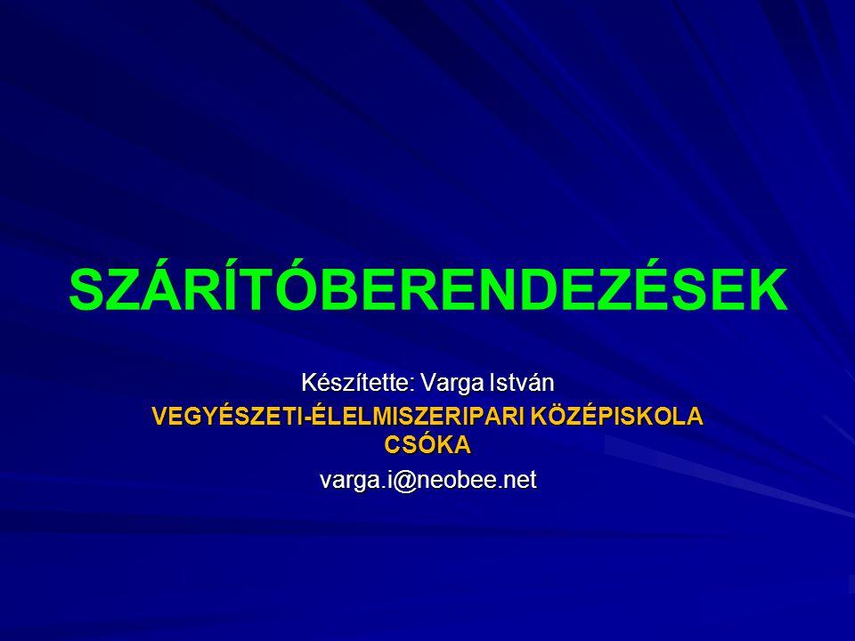 SZÁRÍTÓBERENDEZÉSEK Készítette: Varga István VEGYÉSZETI-ÉLELMISZERIPARI KÖZÉPISKOLA CSÓKA varga.i@neobee.net