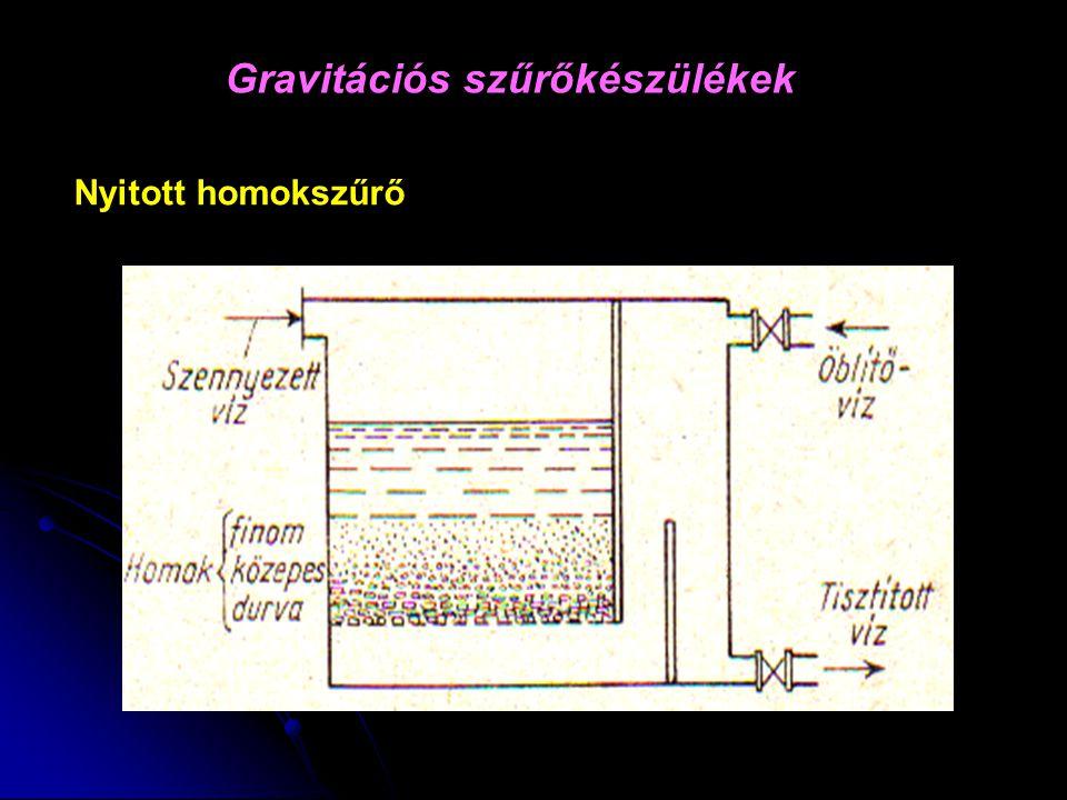 Gravitációs szűrőkészülékek Nyitott homokszűrő