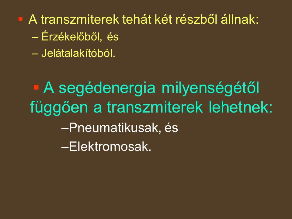  A transzmiterek tehát két részből állnak: –Érzékelőből, és –Jelátalakítóból.  A segédenergia milyenségétől függően a transzmiterek lehetnek: –Pneum