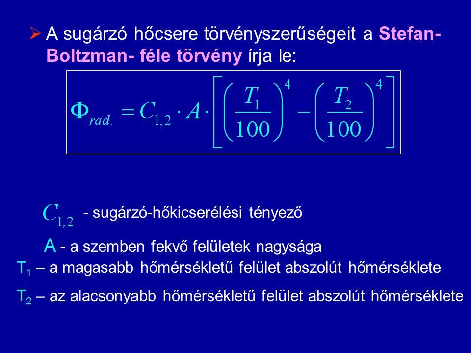  A sugárzó hőcsere törvényszerűségeit a Stefan- Boltzman- féle törvény írja le: - sugárzó-hőkicserélési tényező A - a szemben fekvő felületek nagysága T 1 – a magasabb hőmérsékletű felület abszolút hőmérséklete T 2 – az alacsonyabb hőmérsékletű felület abszolút hőmérséklete