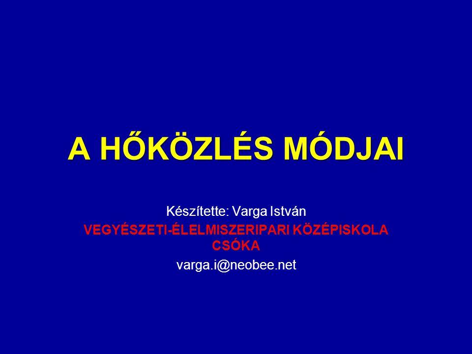 A HŐKÖZLÉS MÓDJAI Készítette: Varga István VEGYÉSZETI-ÉLELMISZERIPARI KÖZÉPISKOLA CSÓKA varga.i@neobee.net