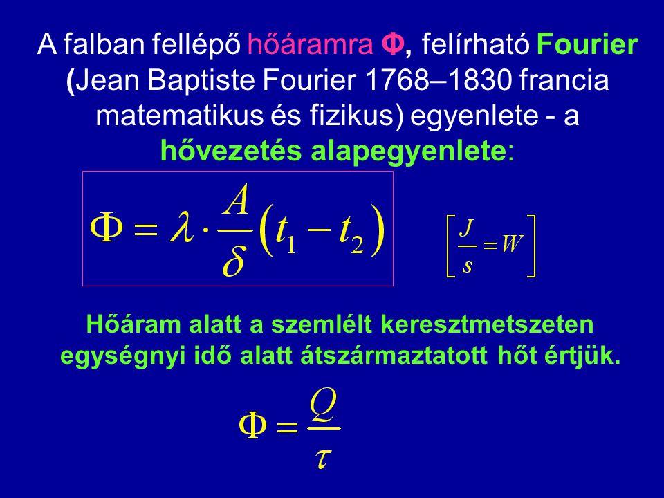 A falban fellépő hőáramra Φ, felírható Fourier (Jean Baptiste Fourier 1768–1830 francia matematikus és fizikus) egyenlete - a hővezetés alapegyenlete: Hőáram alatt a szemlélt keresztmetszeten egységnyi idő alatt átszármaztatott hőt értjük.