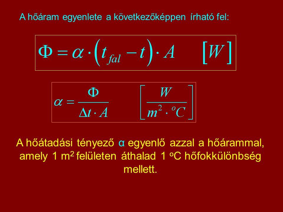 A hőáram egyenlete a következőképpen írható fel: A hőátadási tényező α egyenlő azzal a hőárammal, amely 1 m 2 felületen áthalad 1 o C hőfokkülönbség m