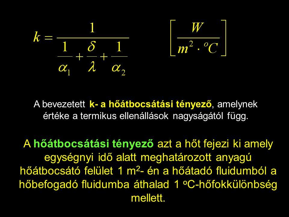 A bevezetett k- a hőátbocsátási tényező, amelynek értéke a termikus ellenállások nagyságától függ. A hőátbocsátási tényező azt a hőt fejezi ki amely e