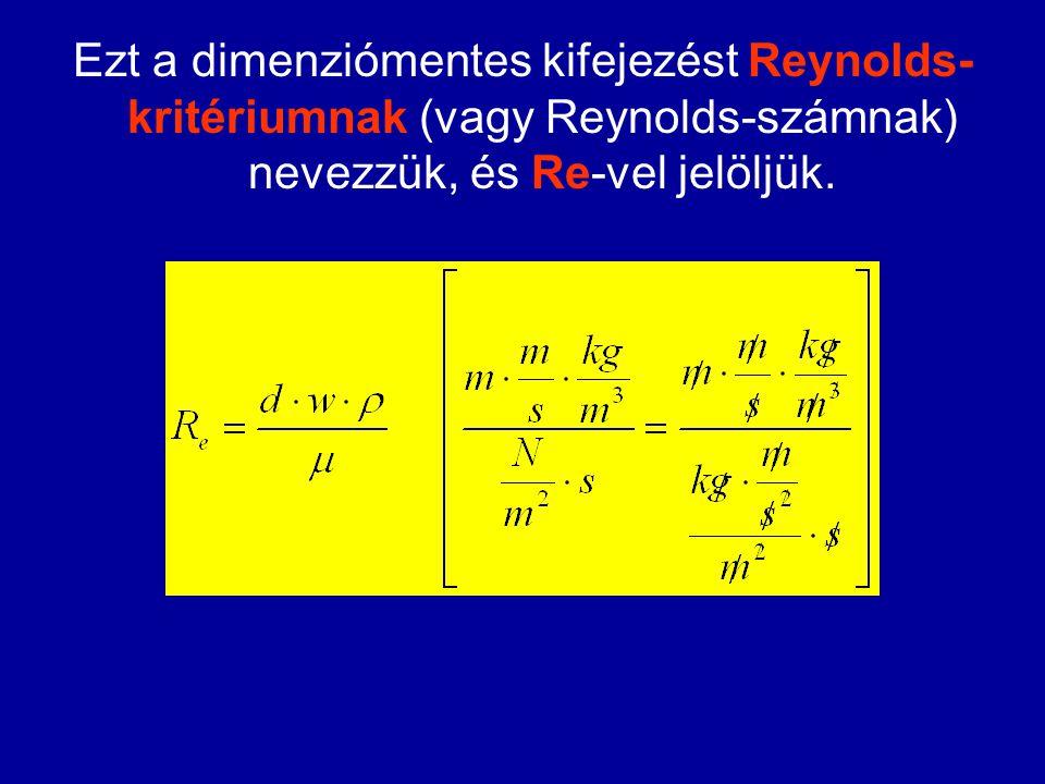 Ezt a dimenziómentes kifejezést Reynolds- kritériumnak (vagy Reynolds-számnak) nevezzük, és Re-vel jelöljük.