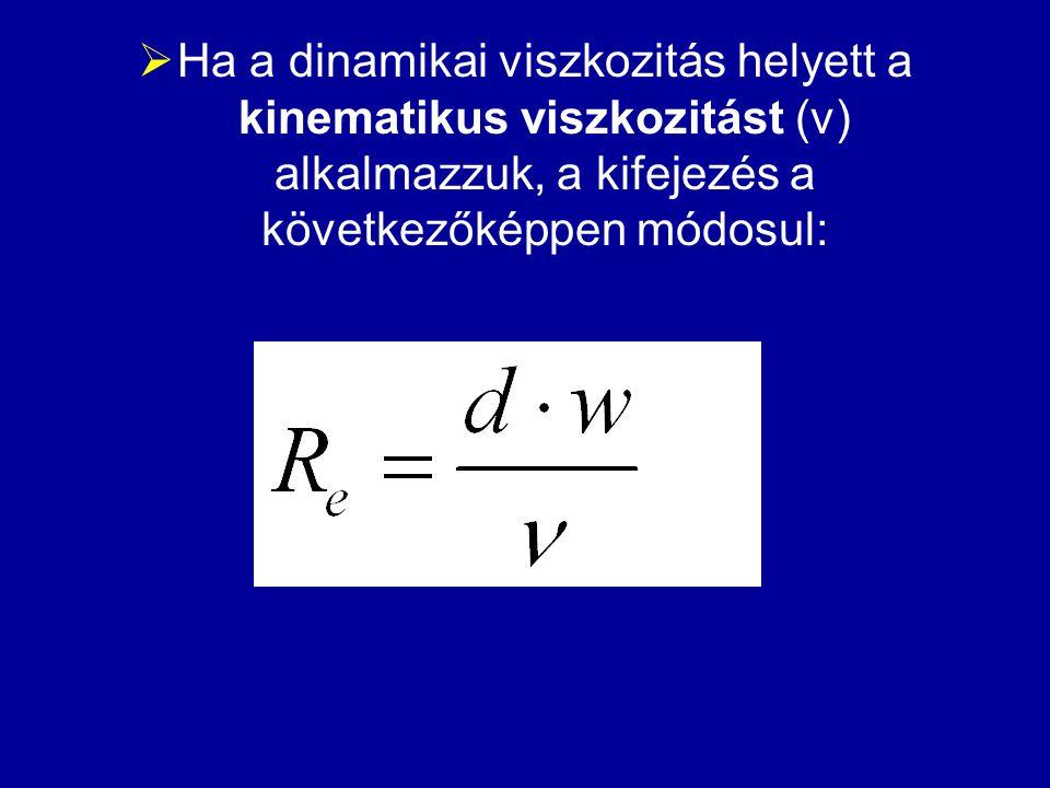  Ha a dinamikai viszkozitás helyett a kinematikus viszkozitást (ν) alkalmazzuk, a kifejezés a következőképpen módosul: