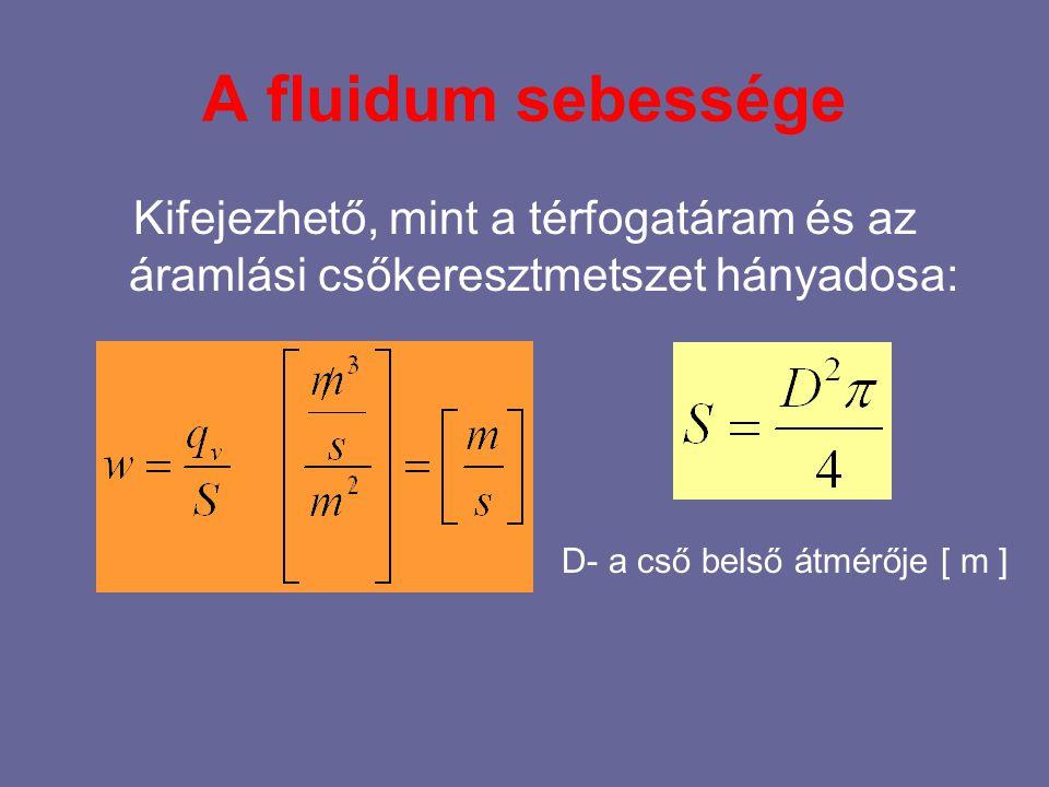 A fluidum sebessége Kifejezhető, mint a térfogatáram és az áramlási csőkeresztmetszet hányadosa: D- a cső belső átmérője [ m ]