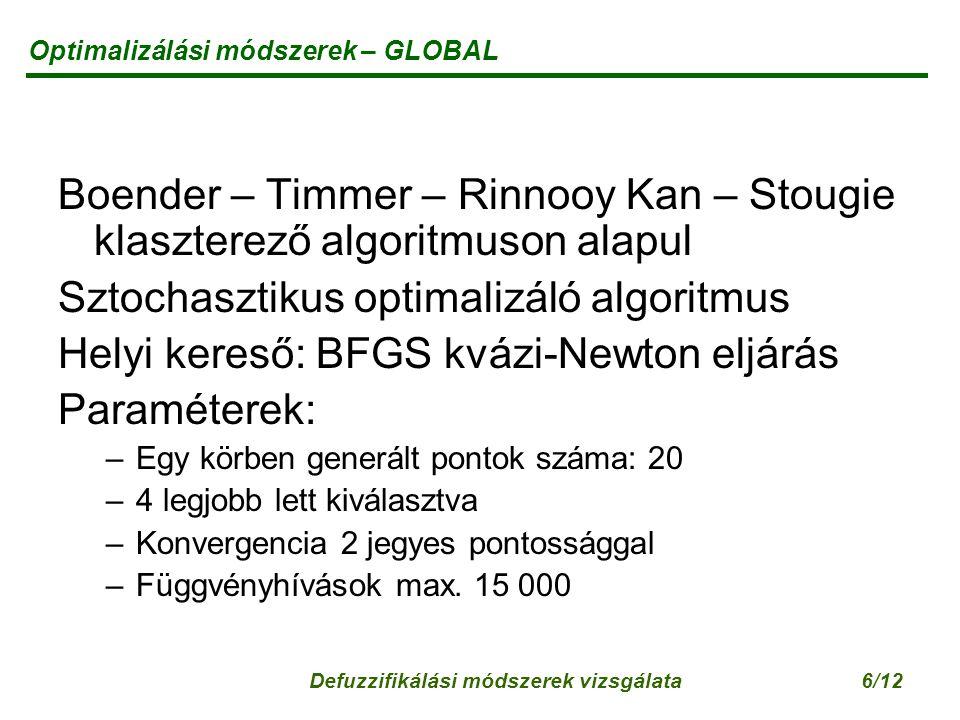 Defuzzifikálási módszerek vizsgálata6/12 Optimalizálási módszerek – GLOBAL Boender – Timmer – Rinnooy Kan – Stougie klaszterező algoritmuson alapul Sztochasztikus optimalizáló algoritmus Helyi kereső: BFGS kvázi-Newton eljárás Paraméterek: –Egy körben generált pontok száma: 20 –4 legjobb lett kiválasztva –Konvergencia 2 jegyes pontossággal –Függvényhívások max.
