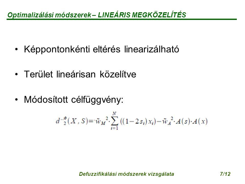 Defuzzifikálási módszerek vizsgálata7/12 Optimalizálási módszerek – LINEÁRIS MEGKÖZELÍTÉS Képpontonkénti eltérés linearizálható Terület lineárisan közelítve Módosított célfüggvény: