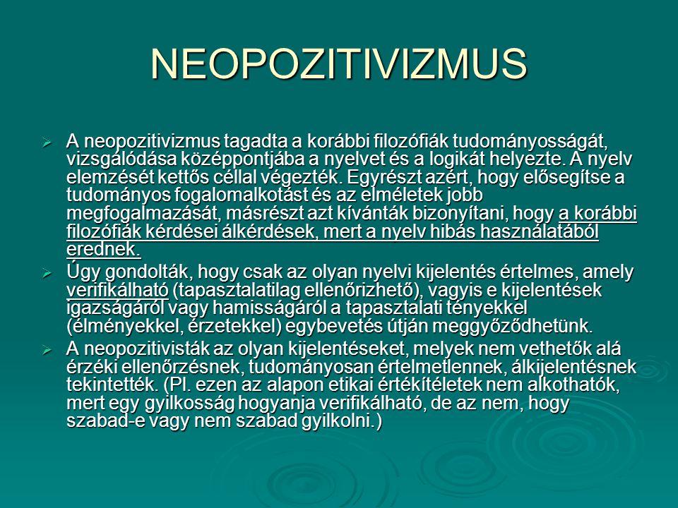 NEOPOZITIVIZMUS  A neopozitivizmus tagadta a korábbi filozófiák tudományosságát, vizsgálódása középpontjába a nyelvet és a logikát helyezte. A nyelv