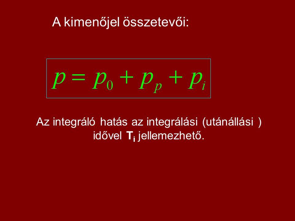 A kimenőjel összetevői: Az integráló hatás az integrálási (utánállási ) idővel T i jellemezhető.