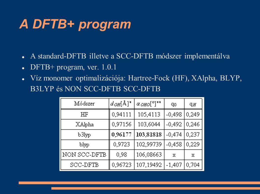 A DFTB+ program A standard-DFTB illetve a SCC-DFTB módszer implementálva DFTB+ program, ver. 1.0.1 Víz monomer optimalizációja: Hartree-Fock (HF), XAl