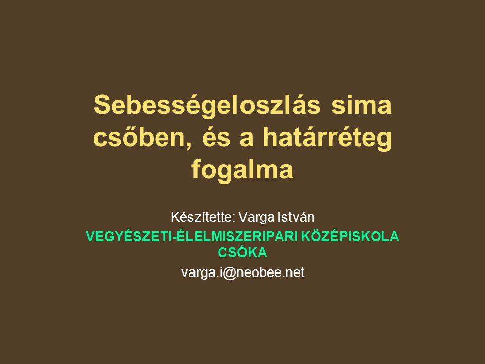 Sebességeloszlás sima csőben, és a határréteg fogalma Készítette: Varga István VEGYÉSZETI-ÉLELMISZERIPARI KÖZÉPISKOLA CSÓKA varga.i@neobee.net