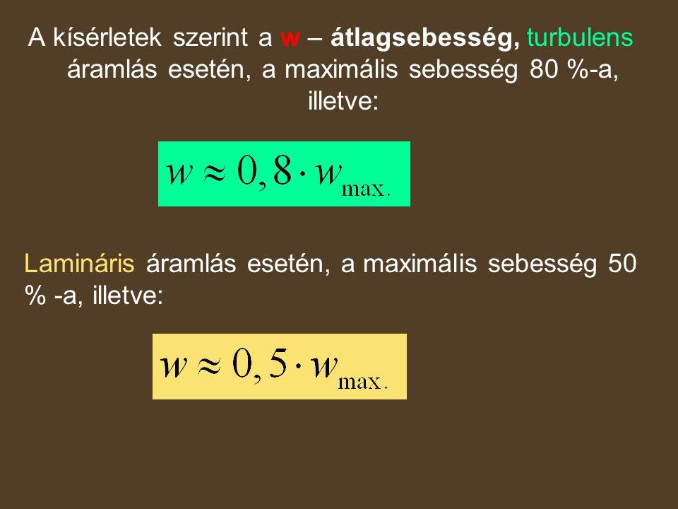 A kísérletek szerint a w – átlagsebesség, turbulens áramlás esetén, a maximális sebesség 80 %-a, illetve: Lamináris áramlás esetén, a maximális sebess
