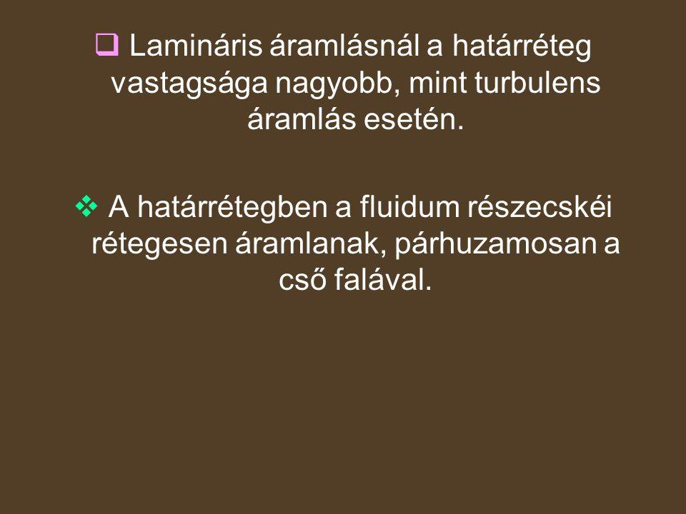  Lamináris áramlásnál a határréteg vastagsága nagyobb, mint turbulens áramlás esetén.  A határrétegben a fluidum részecskéi rétegesen áramlanak, pár
