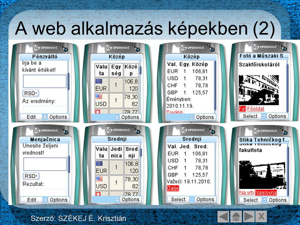 X Szerző: SZÉKEJ É. Krisztián A web alkalmazás képekben (2)