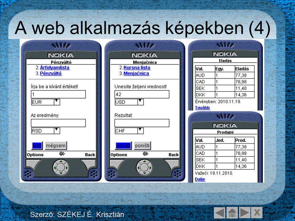X Szerző: SZÉKEJ É. Krisztián A web alkalmazás képekben (4)