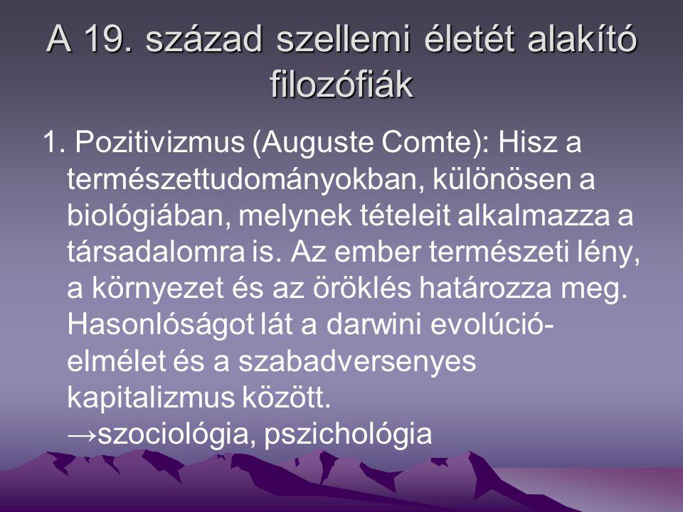 A pozitivizmus által megalapozott irányzatok Realizmus (próza) Naturalizmus (próza) Impresszionizmus (líra)