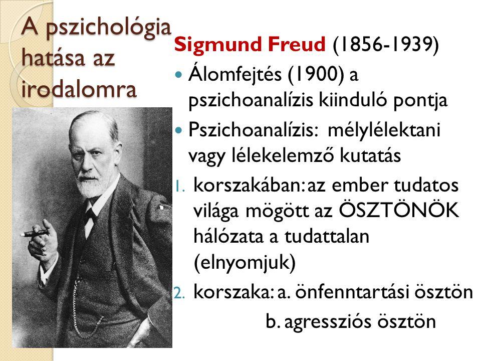 A pszichológia hatása az irodalomra Sigmund Freud (1856-1939) Álomfejtés (1900) a pszichoanalízis kiinduló pontja Pszichoanalízis: mélylélektani vagy