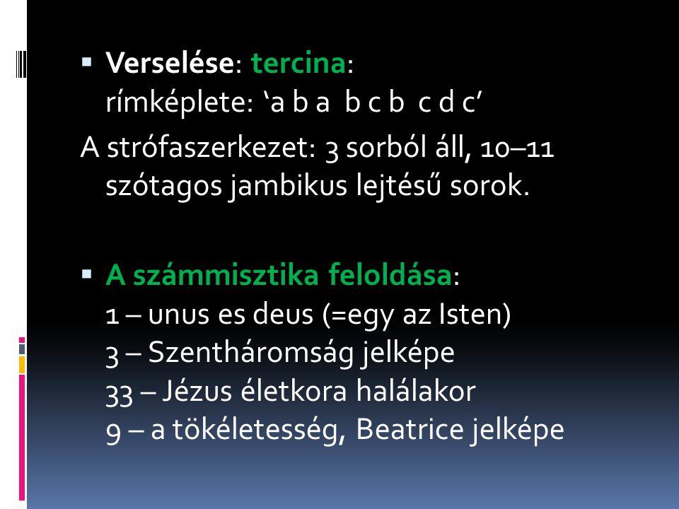  Verselése: tercina: rímképlete: 'a b a b c b c d c' A strófaszerkezet: 3 sorból áll, 10–11 szótagos jambikus lejtésű sorok.  A számmisztika feloldá