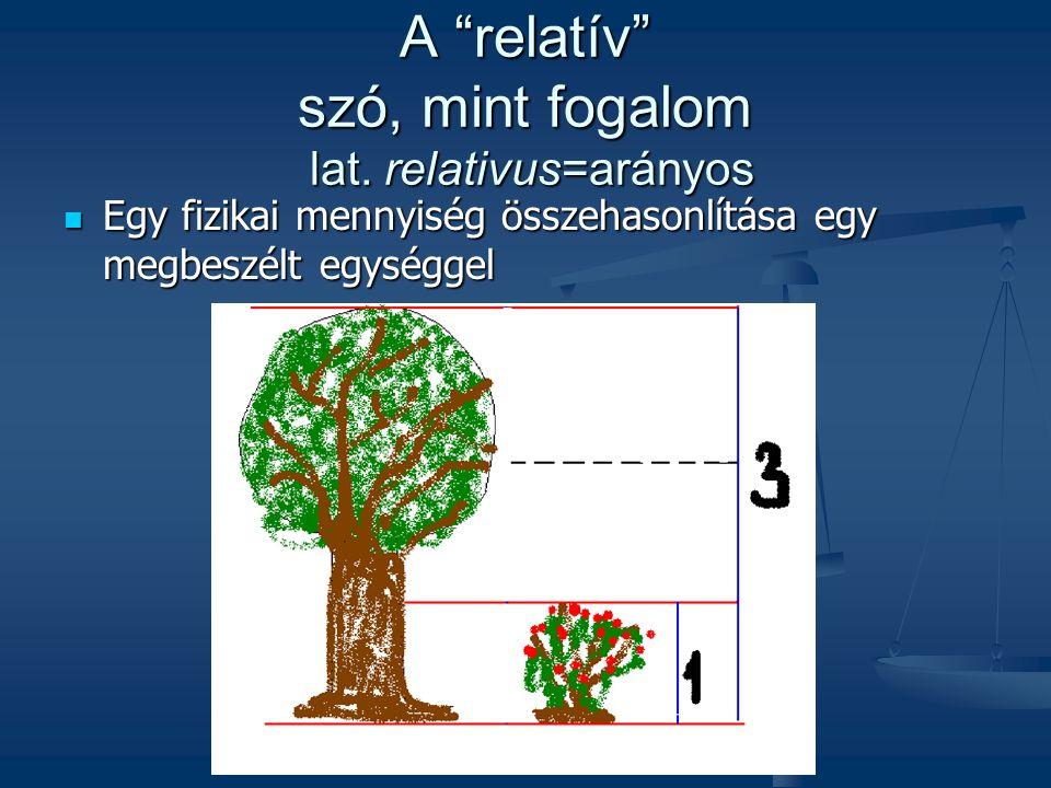 """A """"relatív"""" szó, mint fogalom lat. relativus=arányos Egy fizikai mennyiség összehasonlítása egy megbeszélt egységgel Egy fizikai mennyiség összehasonl"""