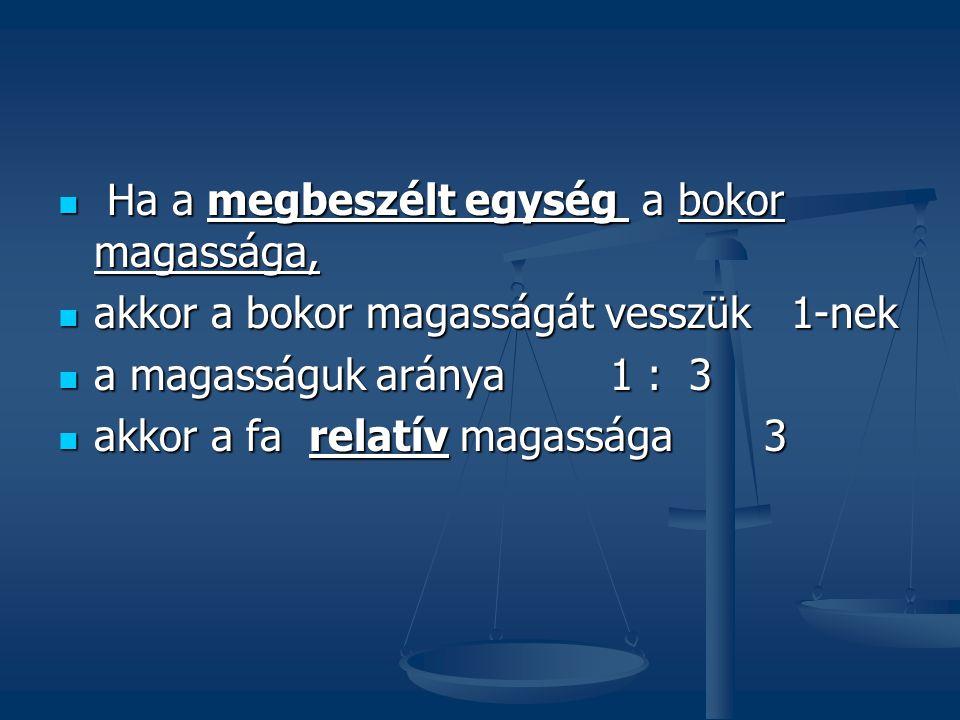 Összegzés: A relatív mennyiség mértékegység nélküli szám A relatív mennyiség mértékegység nélküli szám