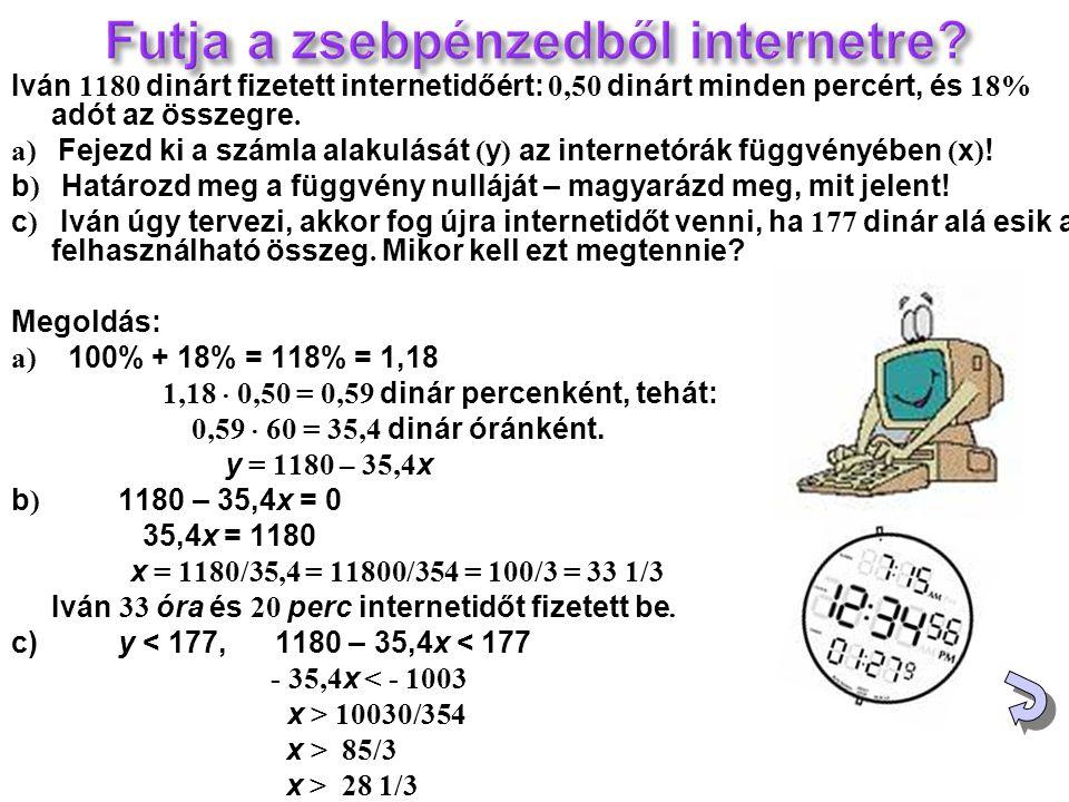 Iván 1180 dinárt fizetett internetidőért: 0,50 dinárt minden percért, és 18% adót az összegre. а) Fejezd ki a számla alakulását ( y ) az internetórák