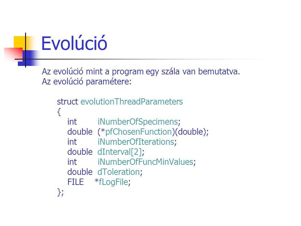 Evolúció Az evolúció mint a program egy szála van bemutatva.
