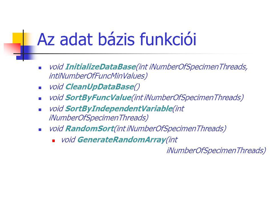 Az adat bázis funkciói void InitializeDataBase(int iNumberOfSpecimenThreads, intiNumberOfFuncMinValues) void CleanUpDataBase() void SortByFuncValue(int iNumberOfSpecimenThreads) void SortByIndependentVariable(int iNumberOfSpecimenThreads) void RandomSort(int iNumberOfSpecimenThreads) void GenerateRandomArray(int iNumberOfSpecimenThreads)
