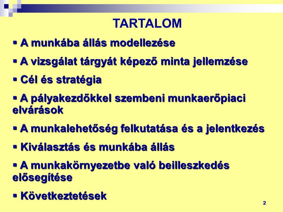 2 TARTALOM  A munkába állás modellezése  A vizsgálat tárgyát képező minta jellemzése  Cél és stratégia  A pályakezdőkkel szembeni munkaerőpiaci el