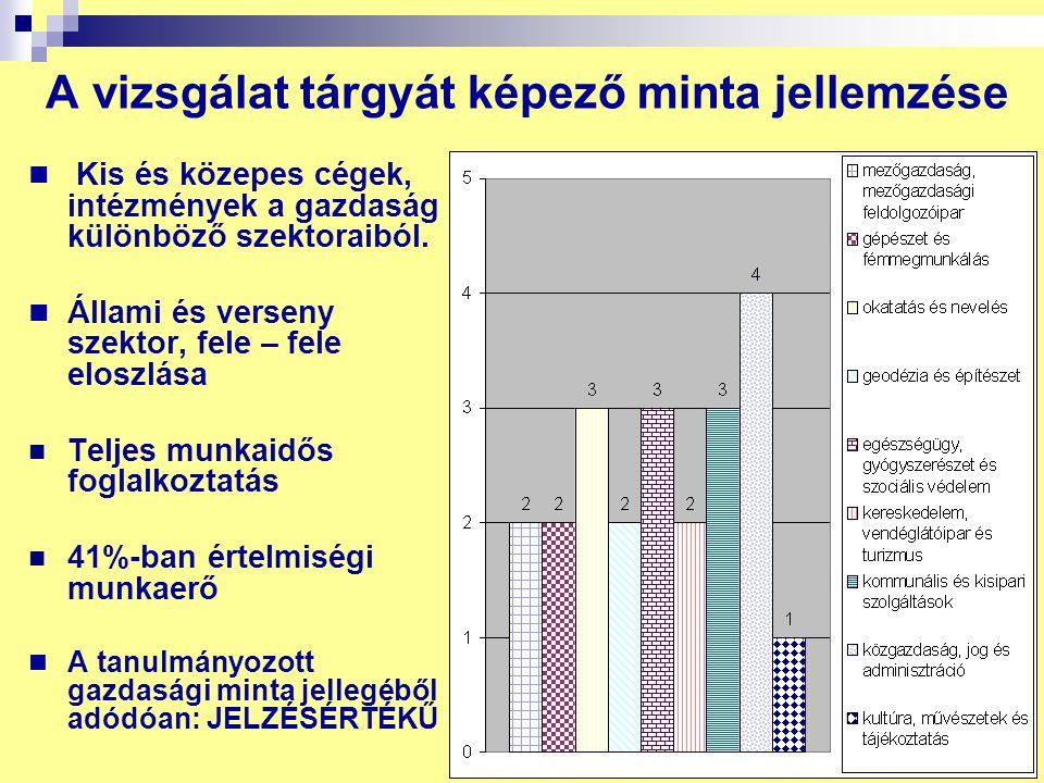 4 A vizsgálat tárgyát képező minta jellemzése Kis és közepes cégek, intézmények a gazdaság különböző szektoraiból. Állami és verseny szektor, fele – f