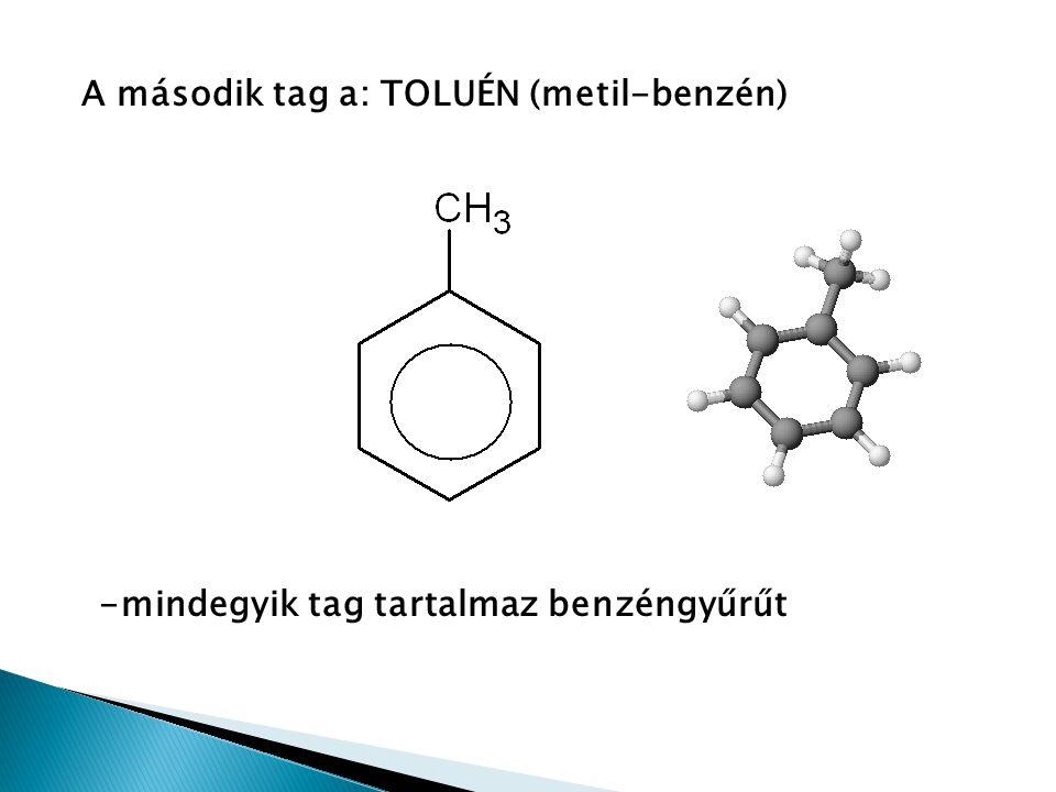 Benzén Fizikai tulajdonságai: színtelen, jellegzetes szagú, apoláros folyadék Reakciói: 1) Szubsztitúció C 6 H 6 + Br 2 → C 6 H 5 Br + HBr benzénbróm bróm-benzén hidrogén-bromid