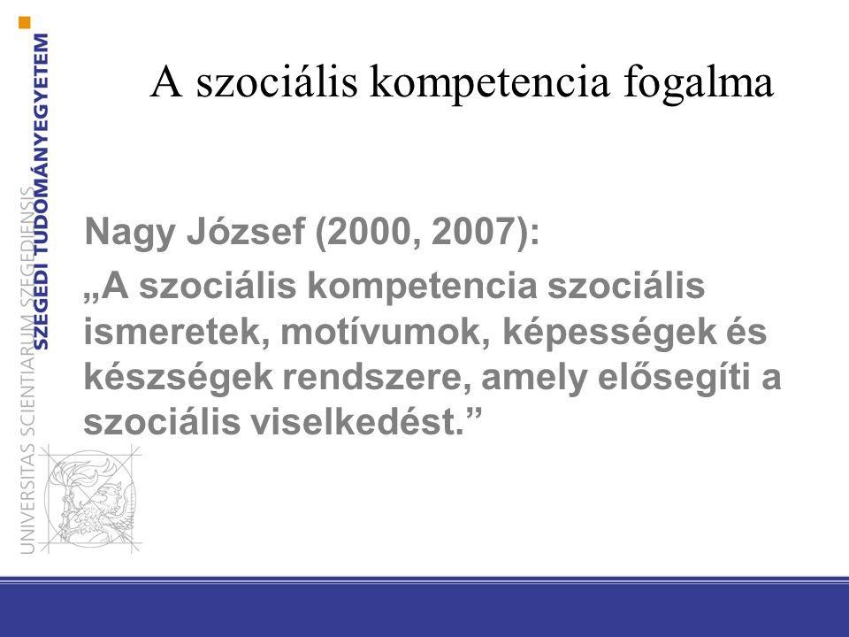 """A szociális kompetencia fogalma Nagy József (2000, 2007): """"A szociális kompetencia szociális ismeretek, motívumok, képességek és készségek rendszere,"""