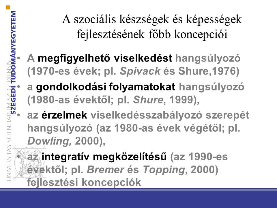 A szociális készségek és képességek fejlesztésének főbb koncepciói A megfigyelhető viselkedést hangsúlyozó (1970-es évek; pl. Spivack és Shure,1976) a