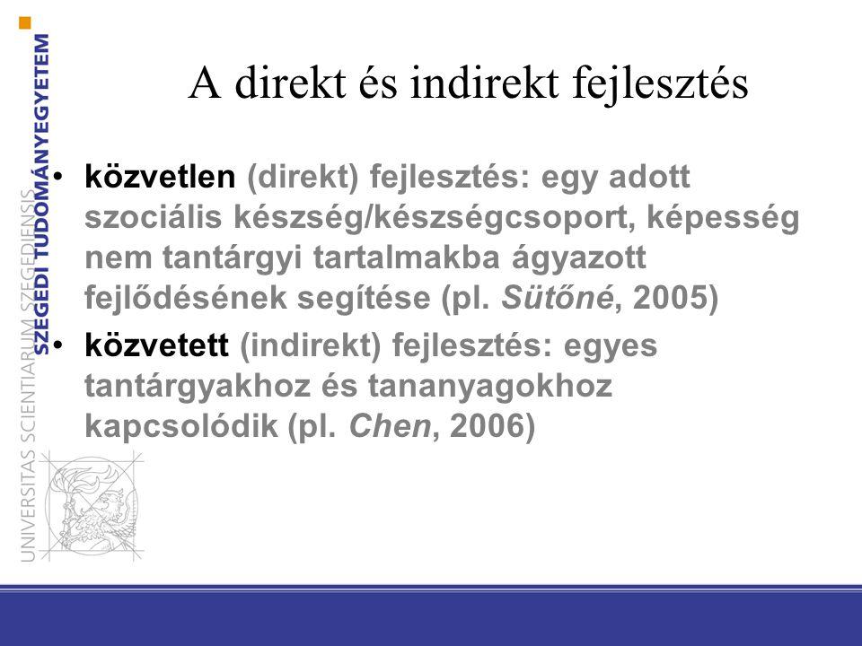 A direkt és indirekt fejlesztés közvetlen (direkt) fejlesztés: egy adott szociális készség/készségcsoport, képesség nem tantárgyi tartalmakba ágyazott